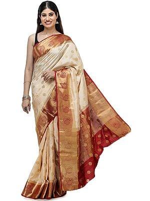 Honey-Peach Silk Sari from Bangalore with Zari-Woven Bootis and  Peacocks on Border