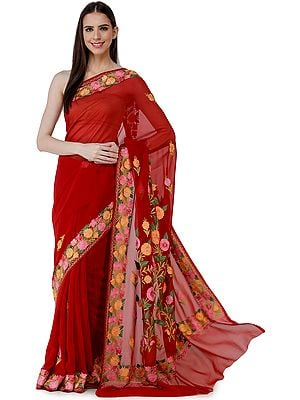 Savvy-Red Sari from Kashmir with Ari-Embroidered Multicolor Flowers On