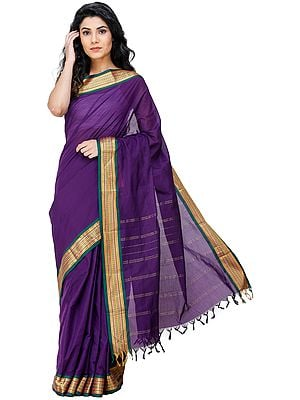 Imperial-Purple Kanji-Cotton Sari from Chennai with Zari-Woven Border and Tassels