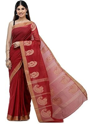 Garnet-Red South-Cotton Handloom Sari from Chennai with Woven Border and Pallu