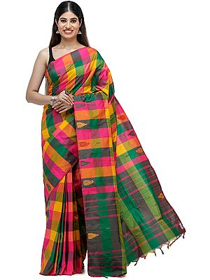 Multicolored Woven Checks Silk Sari from Chennai with Striped Pallu