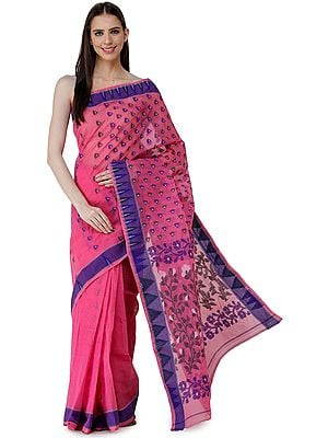 Handloom Tangail Sari from Bengal with Woven Temple Border and Floral Pallu