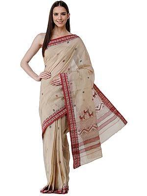 Warm-Sand Handloom Tangail Sari from Bengal with Woven Border and Pallu
