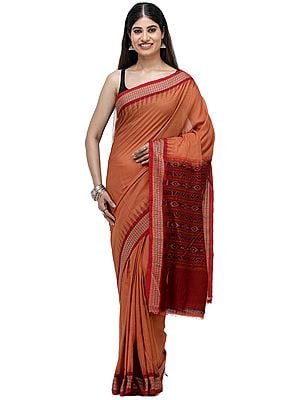 Rust-Brown Sambhalpuri Handloom Sari from Orissa with Ikat Woven Border and Pallu