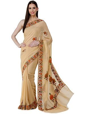 Hazelnut Sari from Kashmir with Ari-Embroidered Multicolor Flowers