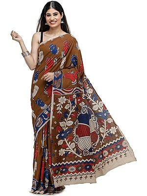 Caramel-Café Kalamkari Printed Cotton Sari with Dance Hand-Mudra Motifs All-Over