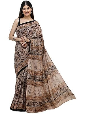 Rose-Dust Kalamkari Sari from Telangana with Printed Flowers All-Over