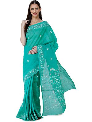 Waterfall-Green Lukhnavi Chikan Sari with Hand-Embroidered Flowers on Border and Pallu