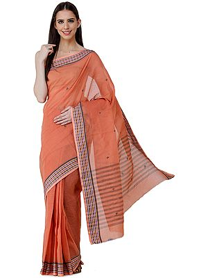 Tant Sari from Bengal with Woven Border and Stripes on Pallu