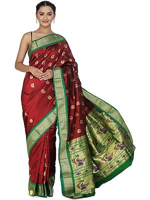 Savvy-Red Brocaded Paithani Uppada Fusion Sari from Bangalore with Peacocks on Border and Heavy Pallu