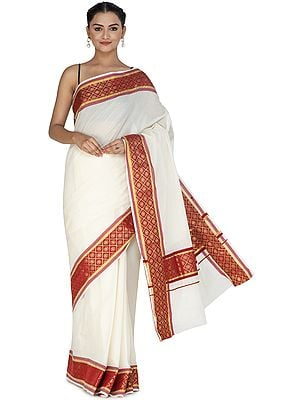 Antique-White Banarasi Cotton Sari with Brocaded Red Patch Border