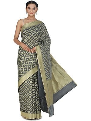 Banarasi Silk Brocaded Kora Sari with Woven Pattern All-over