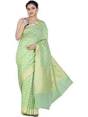Banarasi Silk Brocaded Kora Sari with Woven Pattern All-over