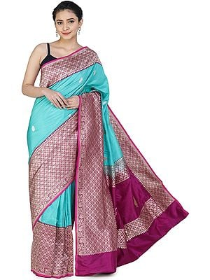Ceramic-Blue Handloom Banarasi Silk Brocaded Sari with Heavy Fuchsia Border and Pallu