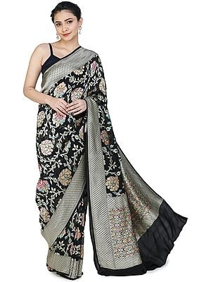 Black-Beauty Handloom Banarasi Sari with Brocaded Floral Motifs All-over and Heavy Pallu