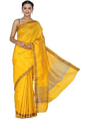 Artisan's Gold Plain Silk Sari from Chennai with Woven Border