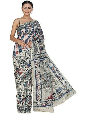 Almond-Cream Kalamkari Sari from Telangana with Printed Folk Motifs and Peacocks