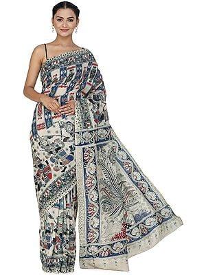 Almond-Cream Kalamkari Sari from Telangana with Printed Folk Motifs and Peacocks