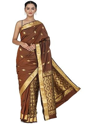 Cognac-Brown Brocaded Handloom Uppada Sari from Bangalore with Peacock Motifs and Heavy Pallu