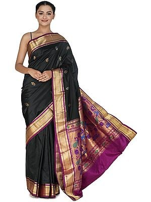 Caviar-Black Brocaded Paithani Uppada Fusion Silk Sari from Bangalore with Purple Border and Peacocks on Pallu
