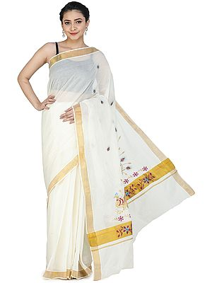 Antique-White Kasavu Sari from Kerala with Embroidered Peacocks and Golden Border