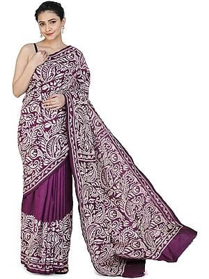 Dark-Purple Pure Silk Sari from Bengal with Kantha Hand-Embroidered Flowers and Heavy Pallu