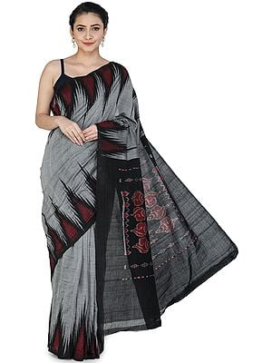 Drizzle-Gray Pochampally Handloom Sari from Telangana with Ikat Woven Black Border and Pallu