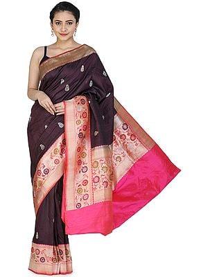 Blackberry-Wine Handloom Banarasi Silk Brocaded Sari with Heavy Kadhwa Border and Pallu