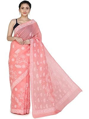 Salmon-Pink Sari from Lucknow with Chikan Hand-Embroidered Paisleys and Flowers on Anchal