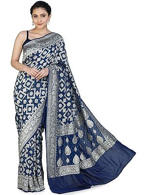 Medieval-Blue Banarasi Handloom Sari with Heavily Brocaded Patterns  All-over and Floral Pallu