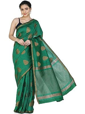 Silk Sari from Chennai with Woven Motifs and Border
