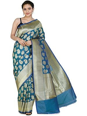 Banarasi Silk Brocaded Sari with Woven Paisleys All-over