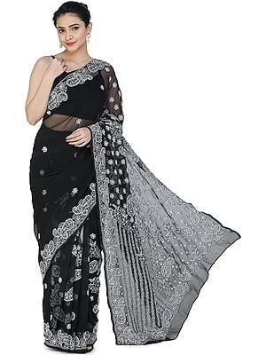 Black-Onyx Sari from Lucknow with Chikan Hand-Embroidered Paisleys and Flowers on Anchal