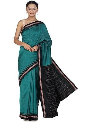 Alexandrite-Green Sambhalpuri Handloom Sari from Orissa with Ikat Woven Border and Pallu