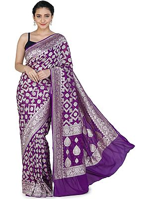 Royal-Lilac Banarasi Handloom Sari with Heavily Brocaded Patterns  All-over and Floral Pallu