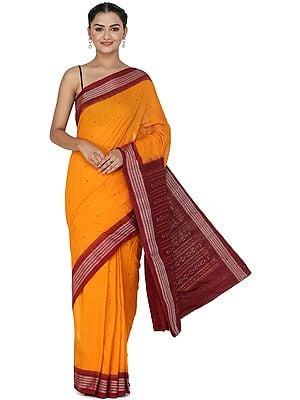 Dark-Cheddar Sambhalpuri Handloom Sari from Orissa with Ikat Woven Border and Pallu