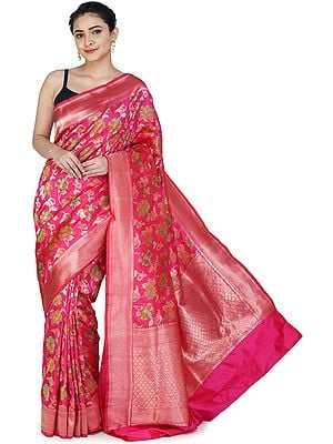 Pink-Peacock Handloom Banarasi Sari with Brocaded Hand-woven Kadhwa Floral Motifs All-over and Heavy Pallu