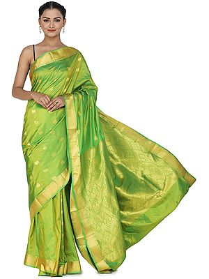 Parrot-Green Uppada Sari from Bangalore with Zari-Woven Pallu and Border