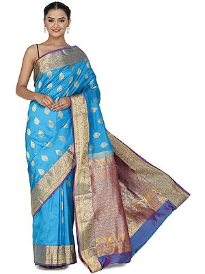 Methyl-Blue Brocaded Uppada Silk Sari from Bangalore with Green Border and Peacocks on Pallu