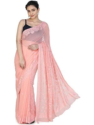 Candlelight-Peach Lukhnavi Chikan Sari with Floral Hand-Embroidery All-over