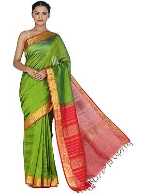 Forest-Green Silk Sari from Channai with Zari-Woven Border and Pallu