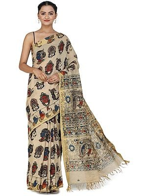 Beige Kalamkari Sari from Telangana with Goddess Laxmi and Peacocks on Pallu