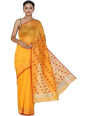 Orange-Pepper Chanderi Sari from Madhya Pradesh with Zari-Woven Border and Bootis