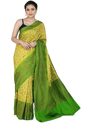 Yellow-Plum Banarasi Sari with Zari Woven Green Pallu and Border
