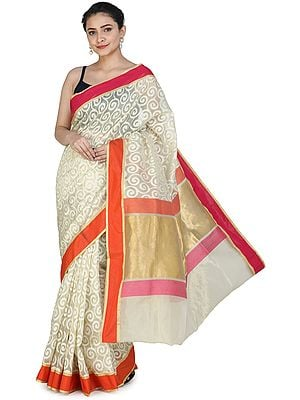 Seedpearl-White Banarasi Silk Brocaded Kora Sari with Woven Spirals