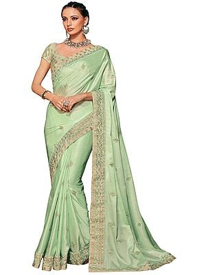 Meadow-Mist Designer Sari with Floral Embroidery in Tonal Thread and Beads