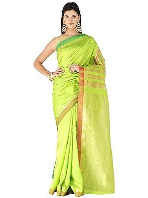 Plain Silk Sari from Chennai with Woven Stripes on Pallu and Border