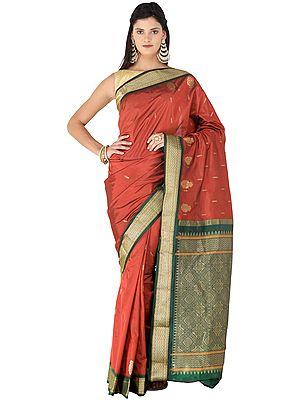 Rythmic-Red Uppada Handloom Sari from Bangalore with Golden Bootis