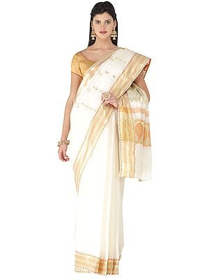 Afterglow Kasavu Sari from Kerala with Woven Golden Peacocks on Anchal and Temple Border