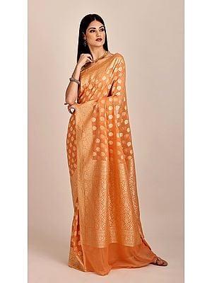 Beautiful Pure Chiffon Peach-Nectar Banarasi Saree (With Unstitched Blouse)| Handloom Zari Woven | Handmade | Made In India